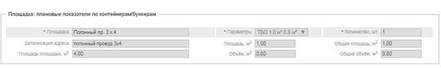 Блок «Детализация услуг», сведения о показателях по контейнерам/бункерам