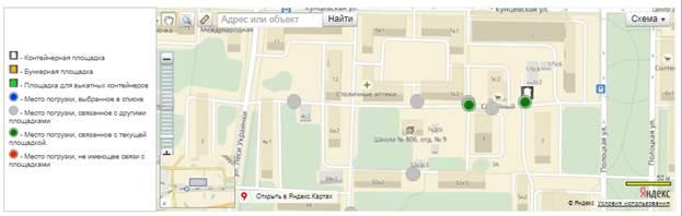 Карта расположения площадки для сбора отходов