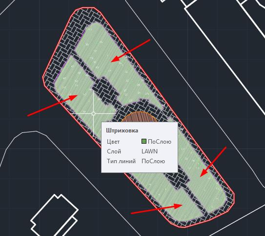 Несколько отдельных «газонов» объеденены в один autocad-объект