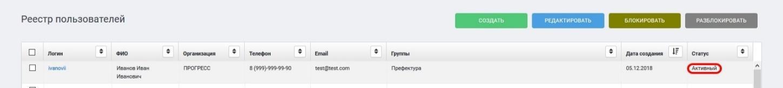 Реестр пользователей. Статус учетной записи после разблокировки