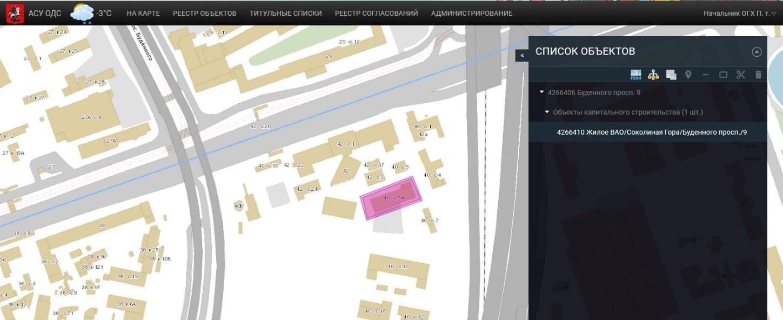 Экранная форма отображения геометрии элемента объекта на карте