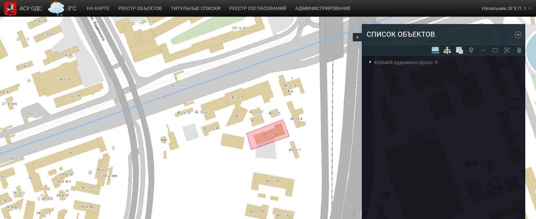 Экранная форма отображения геометрии объекта на карте